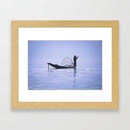 FISHERMAN AT INLE LAKE II Framed Art Print