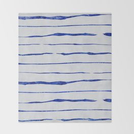 Blue Wiggly Stripes Pattern Throw Blanket
