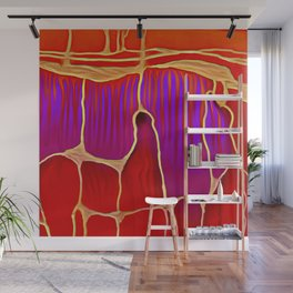 Distant Trees in Violet and Vermillion Wall Mural