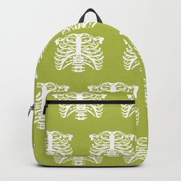 Human Rib Cage Pattern Chartreuse Green Backpack