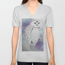Owl with a third eye and crystal ball Unisex V-Neck