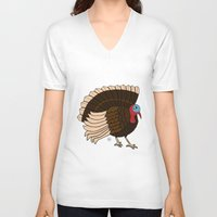turkey V-neck T-shirts featuring Thanksgiving Turkey by Yatasi