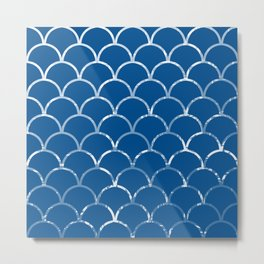 Textured large scallop pattern in snorkel blue Metal Print
