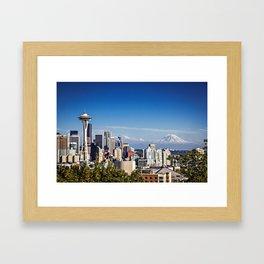 Seattle Overlook with Mt Rainier Framed Art Print