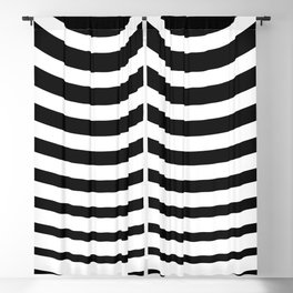 Black and White Minimal Concentric Circles Blackout Curtain