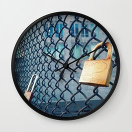 Heart on Lock  Wall Clock