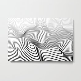 Wave Stripes Curve Metal Print