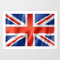 british flag Art Prints featuring UK / British waving flag by GoodGoods