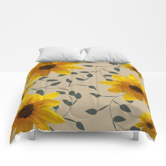 Yellow Flowers and Vines Comforters