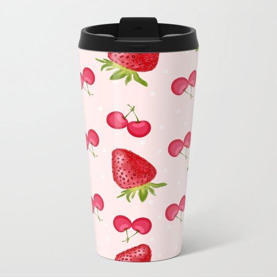 Strawberries Cherries Fiesta Pattern Metal Travel Mug