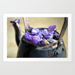 Teapot and Flowers Art Print