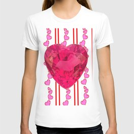 PINK JEWELED PINK VALENTINE HEARTS  DESIGN T-shirt