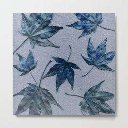 Japanese maple leaves - blue on faded lavender Metal Print