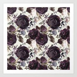 Elegant Dark Burgundy Blossom on Light Cream  Art Print