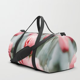 Pink Tulip Bulbs In A Field Green Leaves Duffle Bag