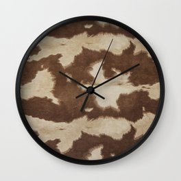 Brown and white cowhide 3 Wall Clock