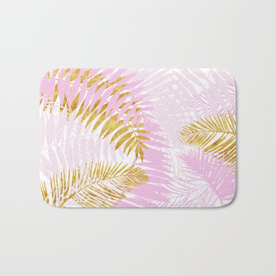 Aloha- Pink Tropical Palm Leaves and Gold Metal Foil Leaf Garden Bath Mat