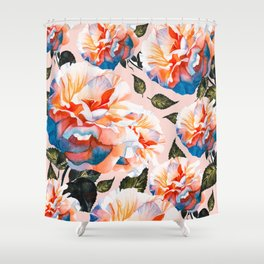 Big flowers blue & orange Shower Curtain