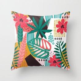 Matisse Inspired Pop Art Tropical Fun Jungle Pattern Throw Pillow