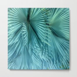 Tropical Jungle Palm Leaves in Green Metal Print