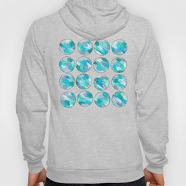 'An Ocean Dream' Abstract Illustration in blue, turquoise, aqua and silver Hoody