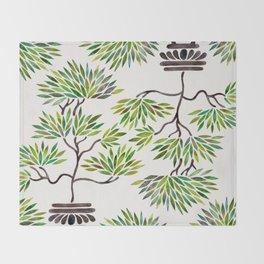 Bonsai Tree – Green Leaves Throw Blanket