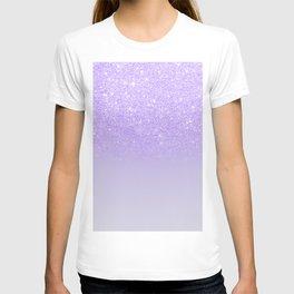 Modern purple sparkles ombre glitter lilac pastel color block T-shirt