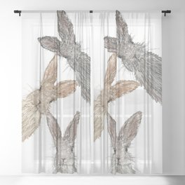 Triple Bunnies Sheer Curtain