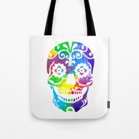 sugar skull Tote Bags featuring Sugar Skull by Diana Arend