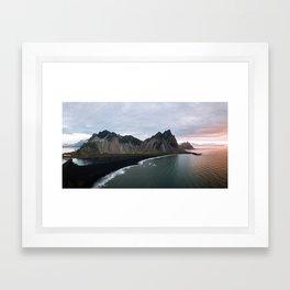 Iceland Mountain Beach Sunrise - Landscape Photography Framed Art Print