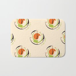seamless pattern with abstract sushi clock for kitchen Bath Mat