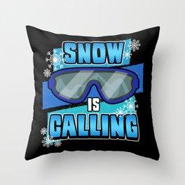 Funny Ski Skier Mountains Skiing Saying Gift Throw Pillow