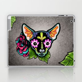Chihuahua in Black - Day of the Dead Sugar Skull Dog Laptop & iPad Skin