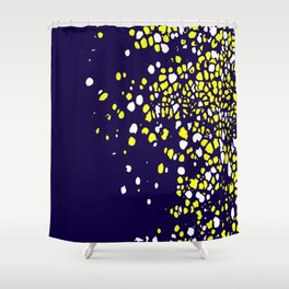 Tiny Bubbles in Navy Blue with White and Yellow Shower Curtain