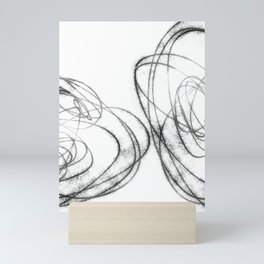 Minimalist Abstract Line Drawing in Black and White Mini Art Print
