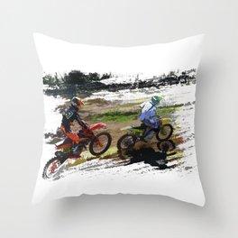 On His Tail - Motocross Sports Art Throw Pillow