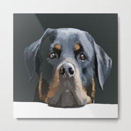 Rottweiler Portrait Vector Metal Print