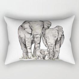 Elephant Family, Elephant Watercolor Painting, Animal Family Rectangular Pillow