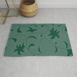 Tropical Leaves Climbing Plants Solid Colors Rug