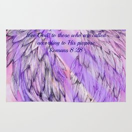 Pink Angel Wings Romans 8:28 Rug