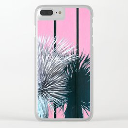 Yucca Plant in Front of Striped Pink Wall Clear iPhone Case