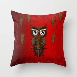 Wonderful steampunk owl on red background Throw Pillow