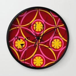 Warm Floral Feline Wall Clock