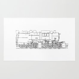 Sketchy train art Rug