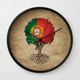 Vintage Tree of Life with Flag of Portugal Wall Clock