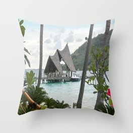 Bora Bora Tahiti Boat Landing Throw Pillow