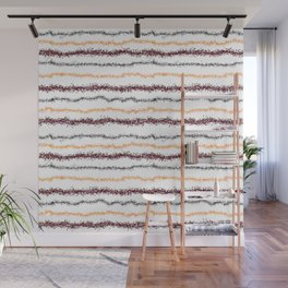 Brown Leafy Line Pattern Wall Mural