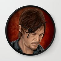 daryl dixon Wall Clocks featuring Daryl Dixon by Vanessa Seixas