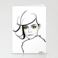 golden girls Stationery Cards featuring MY GIRLS . GOLDEN EYE LASHES by Camila Giacoia