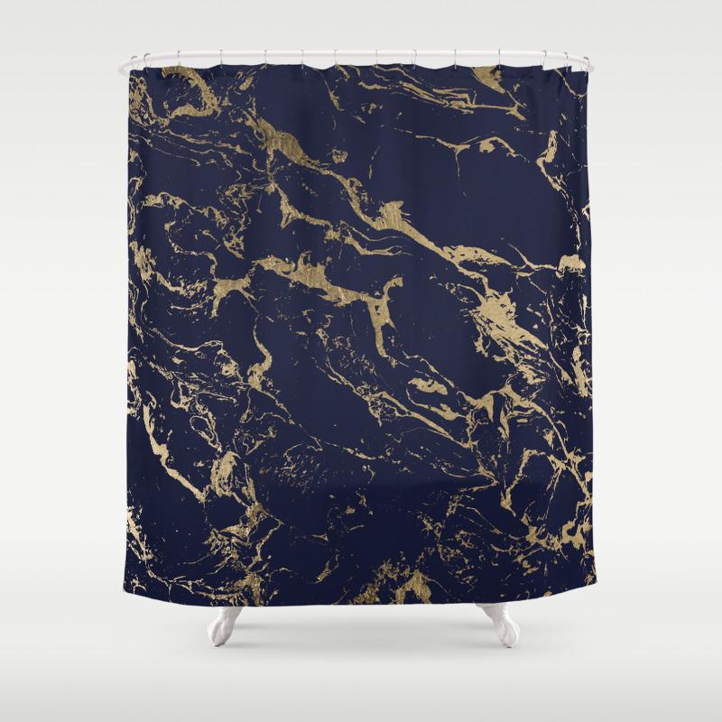Modern Luxury Chic Navy Blue Gold Marble Pattern Shower Curtain